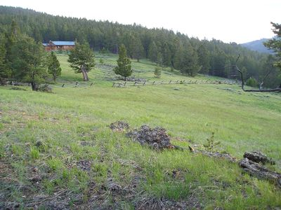 Cabin, part of its 60 acres next to Shoshone Nat'l Forest.  Privacy, space.