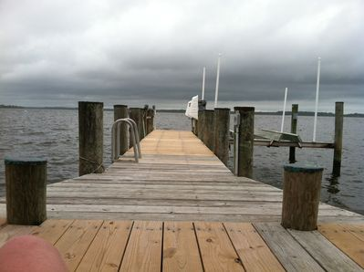 Private dock and boat slip, with swimming ladder. Fishing and crabbing are grea
