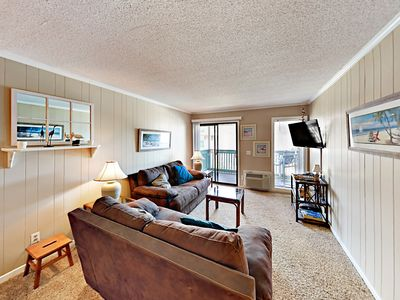 Photo for 2BR w/ Private Ocean-View Balcony, Pool & Grill – Steps to Beach