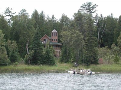 Friendly Bear Cabin - View from the water, summer