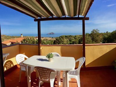 Photo for PANORAMIC two-room apartment with terrace overlooking the sea - Sardinia