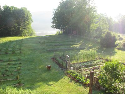 Your view overlooking blueberry fields, gardens and river.