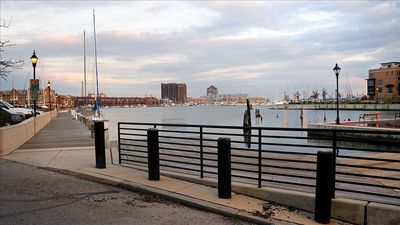 View of Fells Point waterfront across the street from rental property