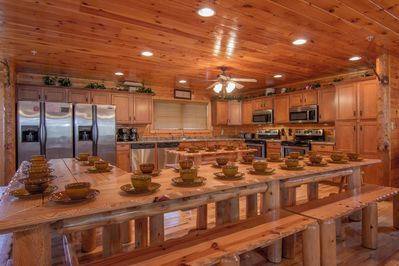 Huge kitchen with seating for over 32+ guests, double ovens/dishwashers/fridges