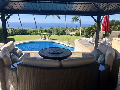 Photo for Tropical hosted vacation home with pool, spa, torches, waterfalls & ocean view