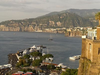 Breathtaking view over Sorrento Harbour and coast landscape;