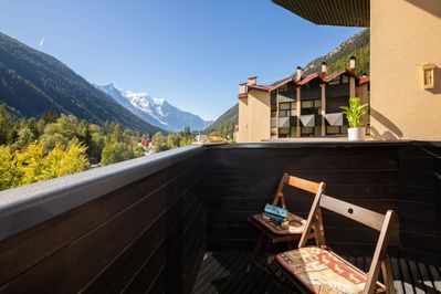 Balcony with a magnificent view of Mont Blanc