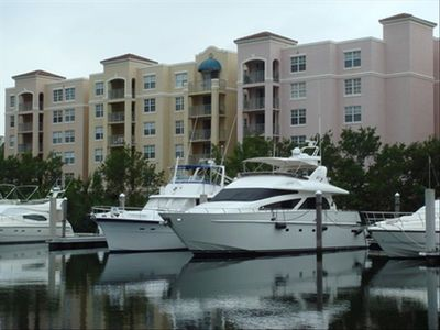 Apartment viewed from the water/marina
