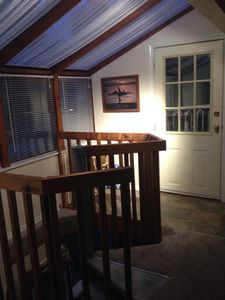 upstairs skylights and doorway to private deck
