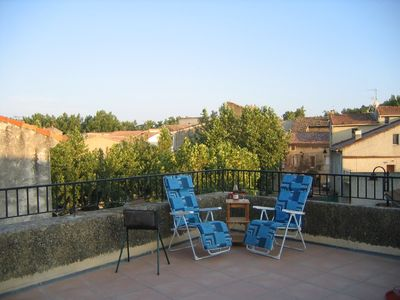 Photo for Peaceful village house with large roof top terrace in Provence