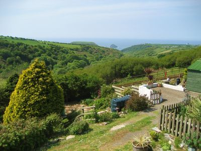 Photo for Comfy North Cornwall home with stunning views down rural valley and out to sea