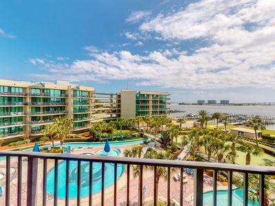 Photo for Spacious, fourth floor condo w/ beautiful bay views, wet bar, & lazy river!