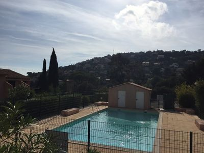 Photo for Charming F2 in Rez of garden, swimming pool, parking, 1km of the town center of Cavalaire