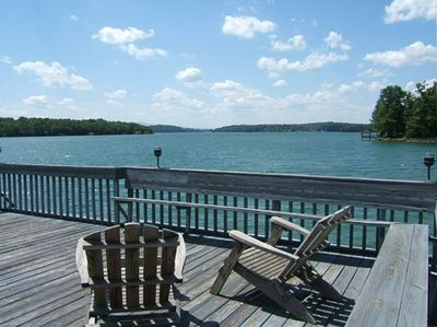 Expansive lake view from the dock's upper level