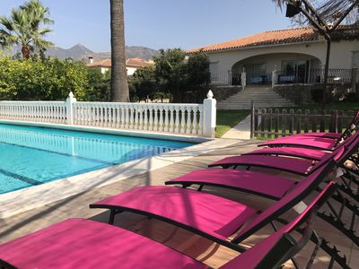 Photo for VILLA 5 BEDR, 14 SLEEP, GARDEN, BBQ, LARGE PRIVATE POOL, 20' WALK TO THE BEACH