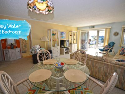 Photo for Fun, welcoming 2 bedroom condo with boat dock and lift, free WiFi, outdoor pool, and direct canal and bay view located midtown!