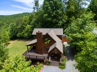 Photo for Family-sized cabin with private hot tub, huge backyard, deck space, & firepit