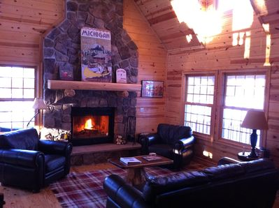 Great room with wood burning fire place