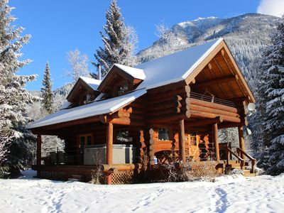 Photo for Cozy log cabin, hot tub and mountain views!  Discounted rates for fall!