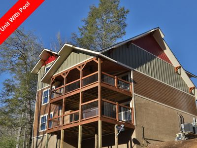 Photo for This 4 bedroom pool cabin built in 2017 will amaze you!