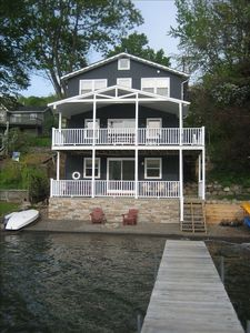 Lakefront View - 40' of lake and stone beach with a 40' dock to swim