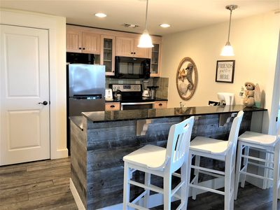 Breakfast bar with seating for three