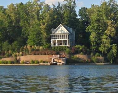 View of Home from Lake- 200' sidewalk waterfront, boathouse w/deck walkout bsmt