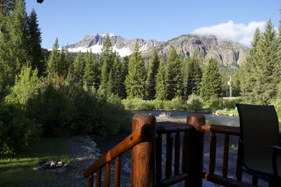 The mountain views from this location are incredible. The creek flows close by !