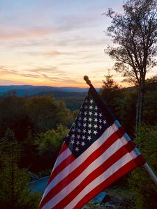 The sunset view from The Polaris Pointe at Snowshoe in late summer 2019.
