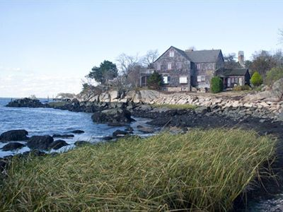 Authentic New England shingle style on private point  -beach on other side