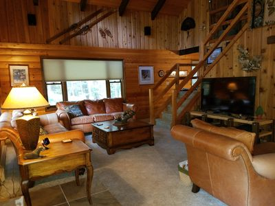 Photo for Rustic Log Home in the Woods, minutes from Pocono Raceway, Casinos and Skiing