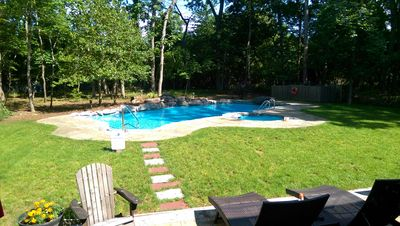 Our private backyard and heated in-ground pool