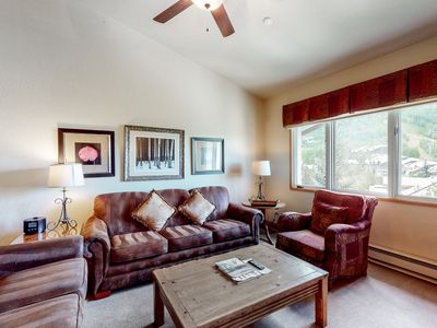 Photo for Elegant ski-in/ski-out condo w/ fireplace & shared pool and hot tub access!