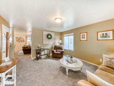 Photo for Charming family home close to skiing and hiking, w/fenced yard & outdoor firepit