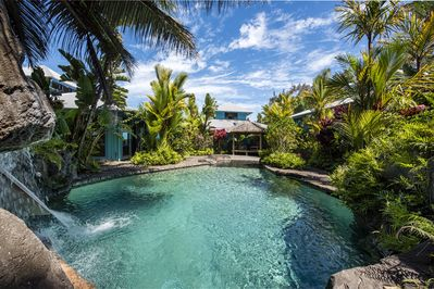 Large pool with waterfall. 5 Bedroom home.