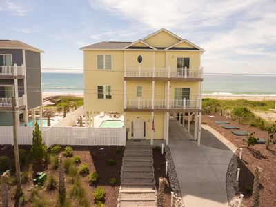 Photo for Newer Oceanfront on Emerald Isle. A cozy getaway with pool and hot tub