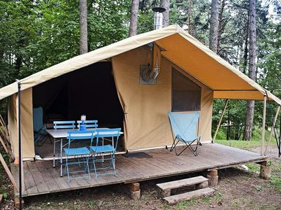Photo for Camping Huttopia Vallouise *** - Cozy Tent 3 Rooms 5 People