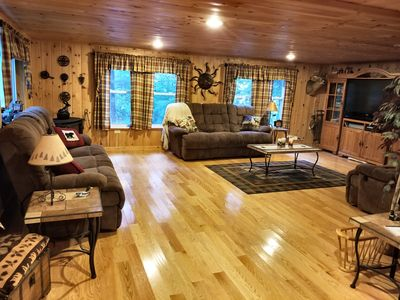 Family Room, large screen TV, Wii, Stereo, VHS, DVD