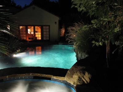 Relax at our mountain guesthouse with pool and Jacuzzi.  close to beach and surf