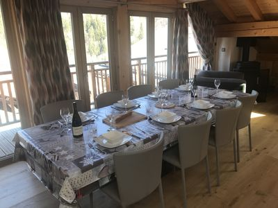 The dining area looking out towards Mont Vallon