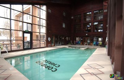 Large pool/Jacuzzi area adjacent to fitness center, separate male/female saunas.