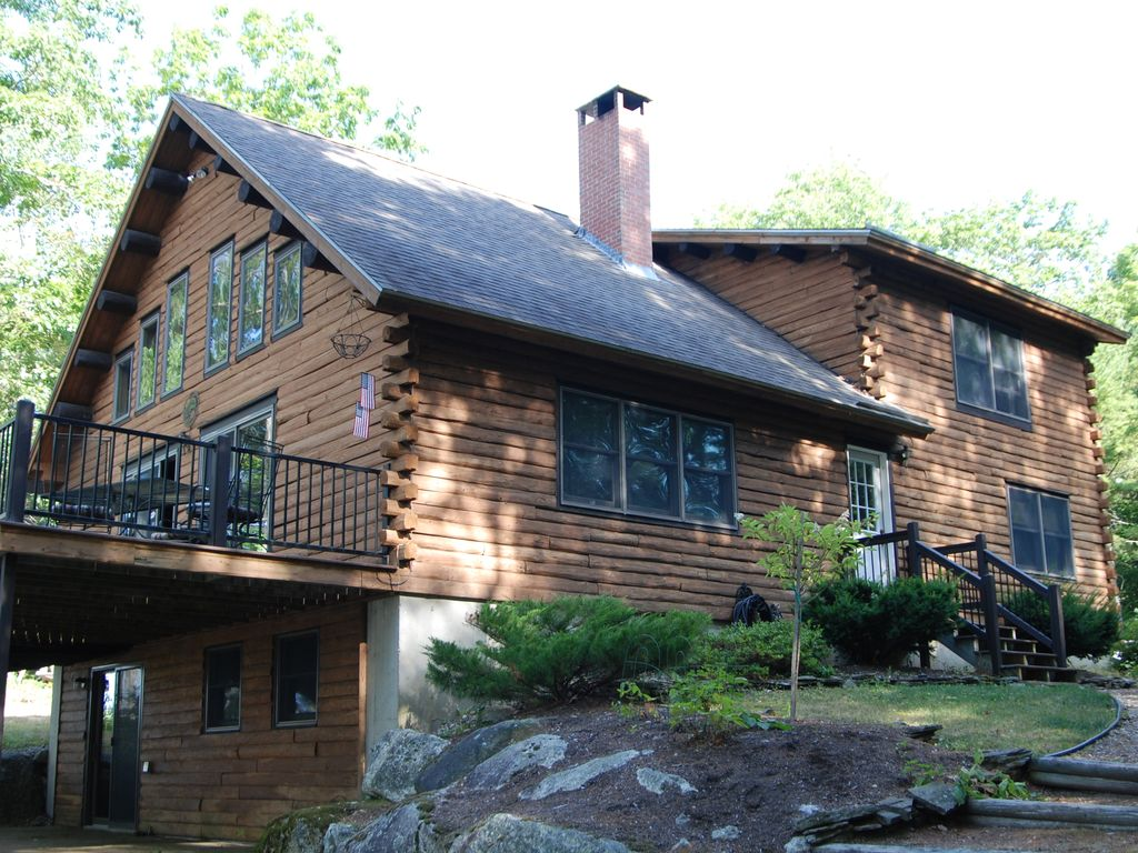 Custom Waterfront Log Home On Private HomeAway Ellsworth - And architectural cottages on secluded private pond homeaway