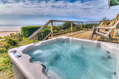 Sit and relax in the ocean front hot tub.