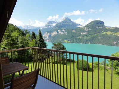 Photo for Comfortable apartment in a unique location directly above Lake Lucerne