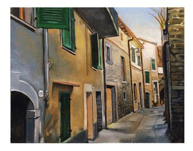 My painting of the Via Castello, our house is second from the last shown.