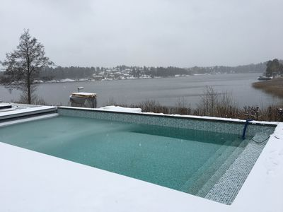 Photo for Architect-designed pool villa with stunning lake views over Drevviken, near Stockholm