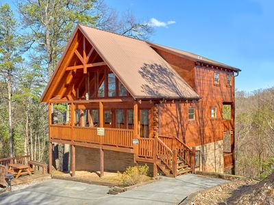 Photo for Free Tickets   Secluded Spacious Cabin w/Mountain View, Hot Tub & Game Room