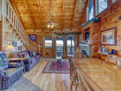 Photo for Charming log cabin w/ a private hot tub, pool table, & outdoor fireplace