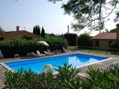 Photo for Tuscan countryside apartment, garden, swimming pool, wi-fi, parking for relaxation and sea