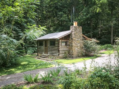 Photo for Country Cabin - TRANQUIL AUTHENTIC LOG CABIN, 15 min to DT, Hot Tub, Hike Trails